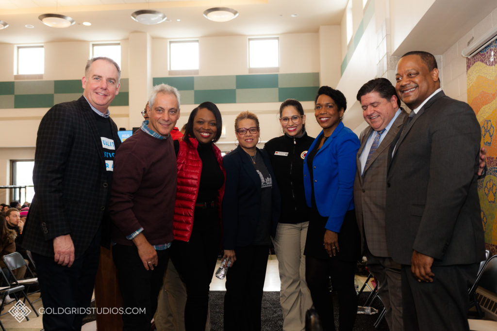 Community leaders in Chicago, including former Mayor Rahm Emanuel and Illinois Governor JB Pritzker.