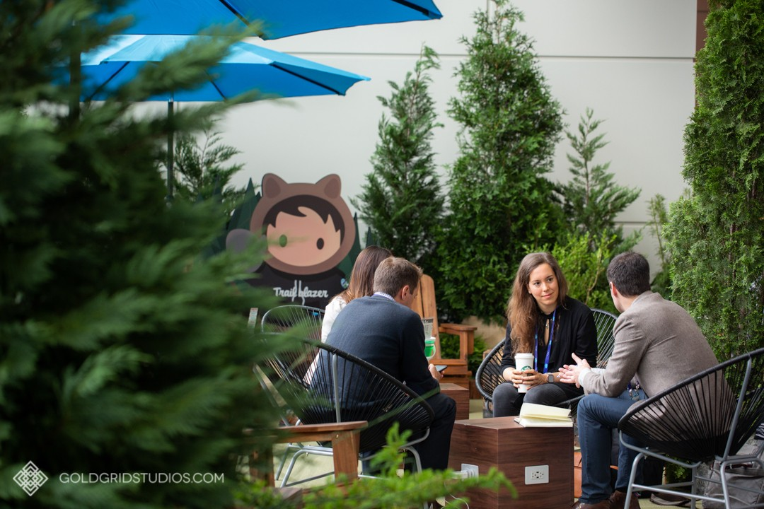 Salesforce's branded networking area.