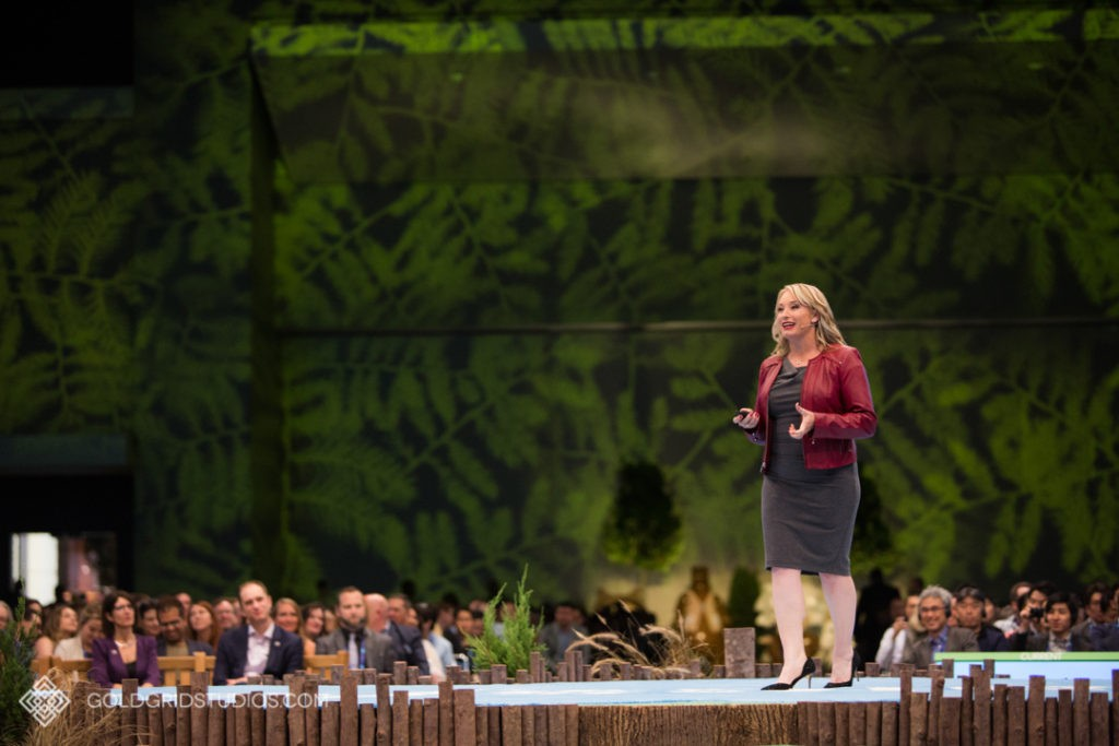 Speaker presenting at Salesforce Connections at McCormick Place in Chicago